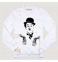 Pull Homme Blanc Angry Chaplin NKH