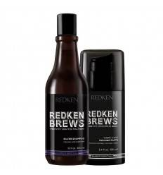 Duo Shampoing Argent Silver & Work Hard Pâte Malléable Brews Redken